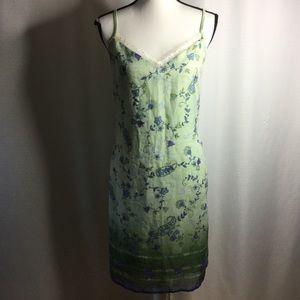 LA BELLE Lace Sheer Dress Lined Summer Floral Midi